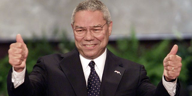 Gen. Colin Powell speaking at the Republican National Convention in Philadelphia on July 31, 2000.