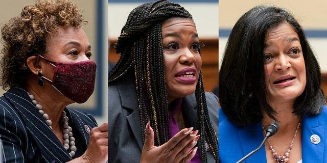 Reps. Barbara Lee, Cori Bush, Pramila Jayapal (AP Photo/Jacquelyn Martin)