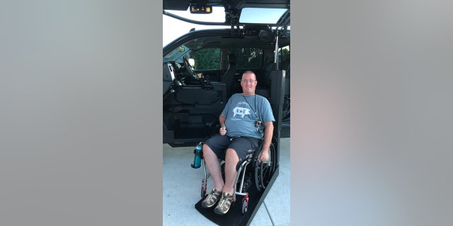 Retired Air Force Master Sgt. Mark McClish at the Driver Rehabilitation Center of Excellence (DRCE).