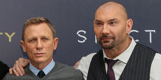 MEXICO CITY, MEXICO - NOVEMBER 01: (LR) Actors Christoph Waltz, Sam Smith, Daniel Craig and Dave Bautista attend a video call to promote the new movie