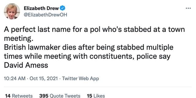 Liberal columnist, frequent MSNBC guest Elizabeth Drew mocks horrific murder of British Conservative David Amess