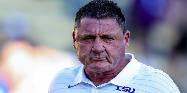 LSU Tigers head coach Ed Orgeron looks on against Central Michigan Chippewas during the first half at Tiger Stadium.