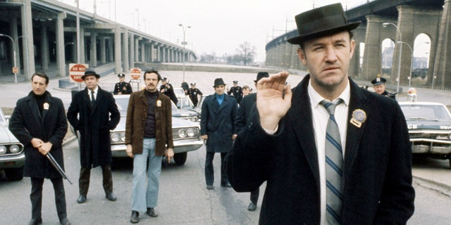 American actor Gene Hackman (right) is seen as Jimmy 'Popeye' Doyle in 'The French Connection', directed by William Friedkin, 1971.