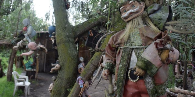 The Island of the Dead Dolls is a peninsula located in Xochimilco, a neighborhood in Mexico City. The land is decorated with several old dolls, which were gathered and hung up by its late inhabitant Don Julián Santana Barrera.