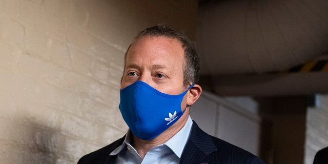 Rep. Josh Gottheimer, D-N.J., arrives for a meeting of the House Democratic Caucus on the infrastructure bill in the U.S. Capitol on Friday, Oct. 1, 2021.
