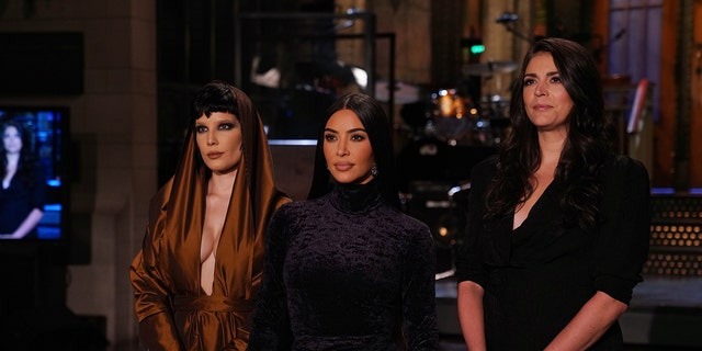 Pictured from left: Musical guest Halsey, host Kim Kardashian West, and Cecily Strong during promos for 'Saturday Night Live,' Oct. 7, 2021.