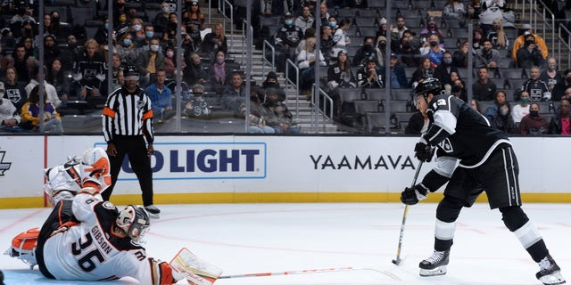 LOS ANGELES, CA - OCTOBER 9: Gabriel Vilardi #13 of the Los Angeles Kings shoots the puck during shootouts against the Anaheim Ducks at STAPLES Center on October 9, 2021 in Los Angeles, California. (Photo by Andrew D. Bernstein/NHLI via Getty Images)