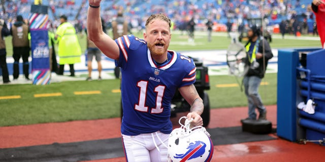 Cole Beasley #11 of the Buffalo Bills acknowledges the fans as he leaves the field after the Bills defeated the Texans 40-0 at Highmark Stadium on Oct. 3, 2021 in Orchard Park, New York.