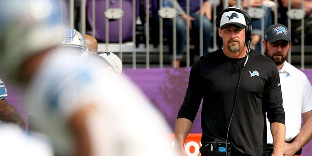 Head coach Dan Campbell of the Detroit Lions looks on during the first quarter against the Minnesota Vikings at U.S. Bank Stadium on October 10, 2021 in Minneapolis, Minn.