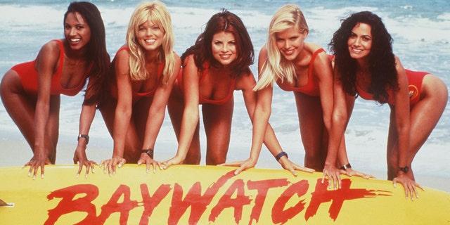 The girls from 'Baywatch' circa 1996. From L-R: Traci Bingham, Donna D'Errico, Yasmine Bleeth, Gena Lee Nolin And Nancy Valen.