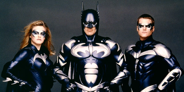 American actors Alicia Silverstone, George Clooney and Chris O'Donnell on the set of 'Batman & Robin' directed by Joel Schumacher.