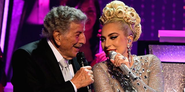 Lady Gaga (R) performs with Tony Bennett during her 'JAZZ & PIANO' residency at Park Theater at Park MGM on January 20, 2019 in Las Vegas, Nevada.