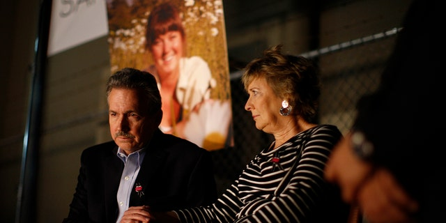 Parents Richard and Elizabeth Jones attend a memorial for their daughter Sarah Jones, an assistant camerawoman who was killed by a train while shooting the Gregg Allman biopic film, ?Midnight Rider,? on March 7, 2014 in Los Angeles, California. The remembrance of the 27-year-old camerawoman is organized by members of the International Cinematographers Guild and the production community who want to highlight the importance of safety over a production's schedule or budget. The accident which occurred February 20 on a train trestle over the Altamaha River in Georgia and injured seven other crew members.