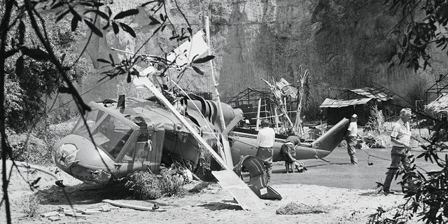 The Bell helicopter crew begin here to disassemble the helicopter that crashed, killing veteran actor Vic Morrow and two child actors on the movie set, ?The Twilight Zone?.