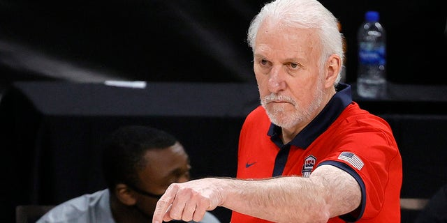 Head coach Gregg Popovich of the United States gestures during an exhibition game against Spain at Michelob ULTRA Arena ahead of the Tokyo Olympic Games on July 18, 2021 in Las Vegas, Nevada. The United States defeated Spain 83-76.