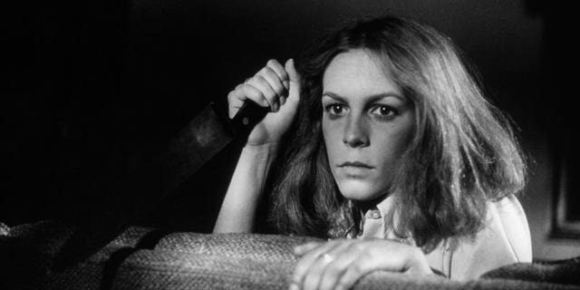 Jamie Lee Curtis on the set of 'Halloween,' written and directed by John Carpenter.