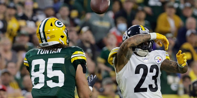 Pittsburgh Steelers' Joe Haden breaks up a pass intended for Green Bay Packers' Robert Tonyan during the second half of an NFL football game Sunday, Oct. 3, 2021, in Green Bay, Wis.