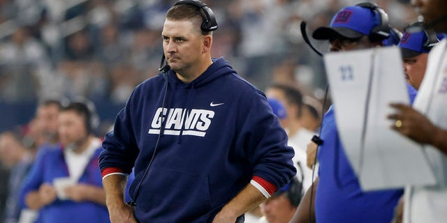New York Giants head coach Joe Judge watches play against the Dallas Cowboys in the second half of an NFL football game in Arlington, Texas, Sunday, Oct. 10, 2021.