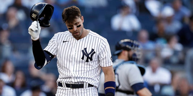 New York Yankees' Joey Gallo reacts after striking out during the eighth inning of a baseball game against the Tampa Bay Rays on Saturday, Oct. 2, 2021, in New York.