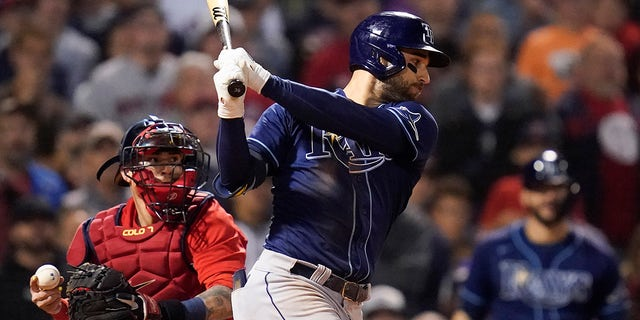 Tampa Bay Rays Kevin Kiermaier strikes out during the eleventh inning against the Boston Red Sox during Game 3 of a baseball American League Division Series, Sunday, Oct. 10, 2021, in Boston.