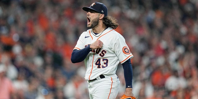 Houston Astros starting pitcher Lance McCullers Jr. reacts after he got the Chicago White Sox's Adam Engel to ground out to end the top of the fifth inning in Game 1 of a baseball American League Division Series Thursday, Oct. 7, 2021, in Houston.