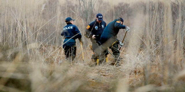 Crime Scene investigators using metal detectors to search a marsh for the remains of Shannan Gilbert on Dec. 12, 2011, in Oak Beach, New York.