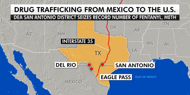 Interstate 35 runs from Texas all the way up to Minnesota. Drug traffickers smuggle drugs across the southwest border to bigger cities like San Antonio. (Graphic by Fox News)