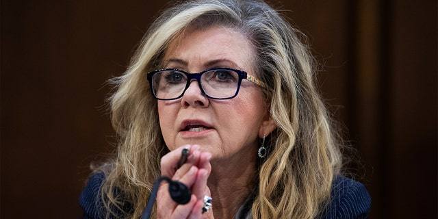 """Sen. Marsha Blackburn, R-Tenn., speaks during the Senate Judiciary Committee hearing titled """"Texas Unconstitutional Abortion Ban and the Role of the Shadow Docket"""" in the Hart Senate Office Building, Washington, D.C., Sept. 29, 2021. (Tom Williams/Pool via REUTERS)"""
