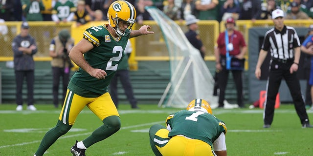 Mason Crosby (2) of the Green Bay Packers kicks a field goal during a game against the Pittsburgh Steelers at Lambeau Field Oct. 03, 2021 in Green Bay, Wisc.