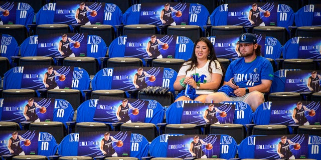 May 28, 2021; Dallas, Texas, USA; A view of fans sitting in the seats during warmups before the game between the Dallas Mavericks and the LA Clippers in game three in the first round of the 2021 NBA Playoffs at American Airlines Center.