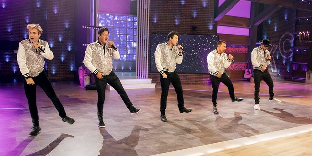 Pictured: New Kids On The Block (l-r) Joey McIntyre, Jonathan Knight, Jordan Knight, Danny Wood, Donnie Wahlberg