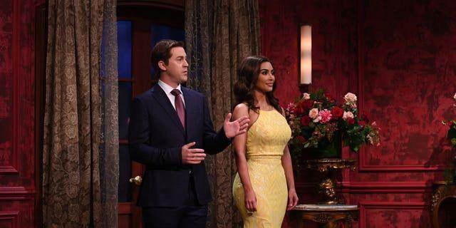(l-r) Alex Moffat and host Kim Kardashian West during 'The Dream Guy' sketch on Saturday, October 9, 2021.