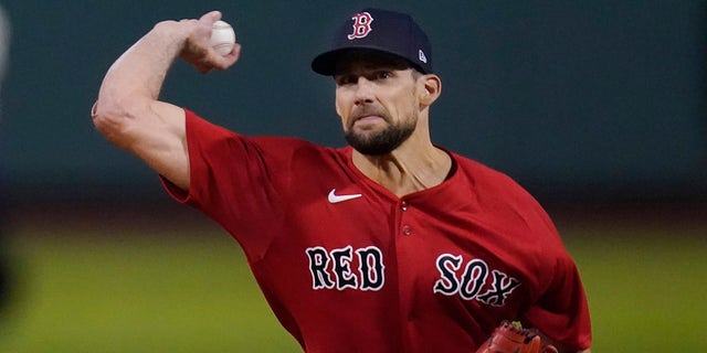 Boston Red Sox starting pitcher Nathan Eovaldi delivers to the New York Yankees in the first inning of the American League Wild Card playoff game at Fenway Park, Tuesday Oct. 5, 2021 in Boston.