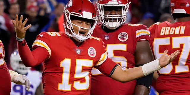 Kansas City Chiefs quarterback Patrick Mahomes reacts during the second half of an NFL football game against the Buffalo Bills Sunday, Oct. 10, 2021, in Kansas City, Mo.