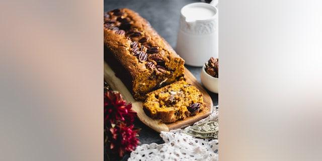 Pecan chocolate pumpkin bread for fall