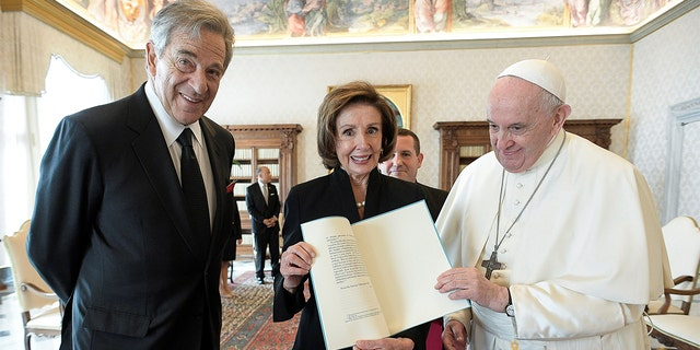 U.S. Speaker of the House Nancy Pelosi and her husband Paul Pelosi meet with Pope Francis at the Vatican, Oct. 9, 2021.