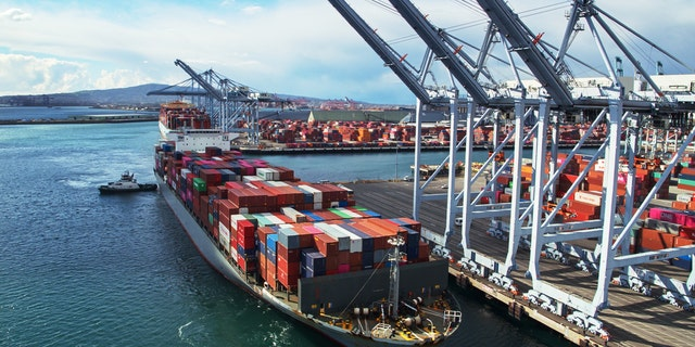 A massive container ship arriving in the Port of Long Beach, Calif.