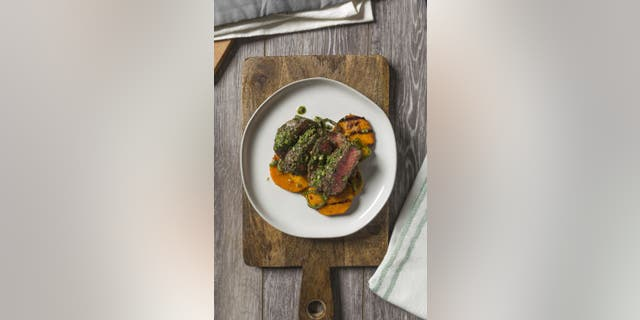 Try this Pumpkin Seed Pesto Sirloin with Spicy Coconut Roasted Sweet Potatoes in celebration of National Pumpkin Seed Day.