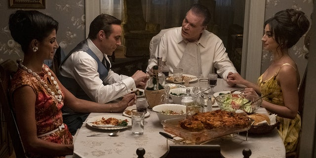"Left to right: Gabriella Piazza, Alessandro Nivola, Ray Liotta and Michela De Rossi in ""The Many Saints of Newark."""