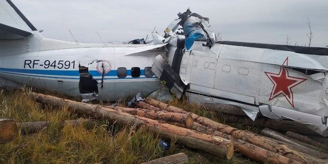 The wreckage of the L-410 plane is seen at the crash site near the town of Menzelinsk in the Republic of Tatarstan, Russia October 10, 2021. Russia's Emergencies Ministry/Handout via REUTERS
