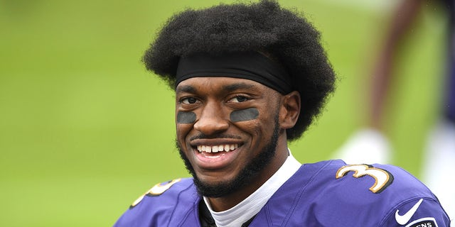 Nov 1, 2020; Baltimore, Maryland, USA; Baltimore Ravens quarterback Robert Griffin III (3) looks on before a game against the Pittsburgh Steelers at M&T Bank Stadium.