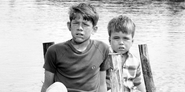 From left is Ron Howard (as Jerry) and Clint Howard (as Mark Wedlow) on the set of the CBS show 'Gentle Ben.'