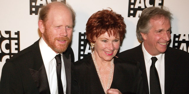 From left: Ron Howard, Marion Ross and Henry Winkler during 56th Annual ACE Eddie Awards - Arrivals at Beverly Hilton in Beverly Hills, California, United States.