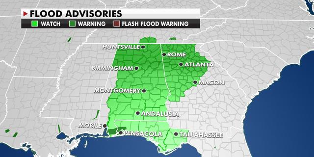 Flood advisories across the Southeast