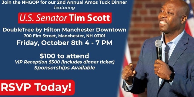 A invitation from the New Hampshire GOP for their Oct. 8, 2021 fundraising dinner, which will be headlined by Republican Sen. Tim Scott of South Carolina