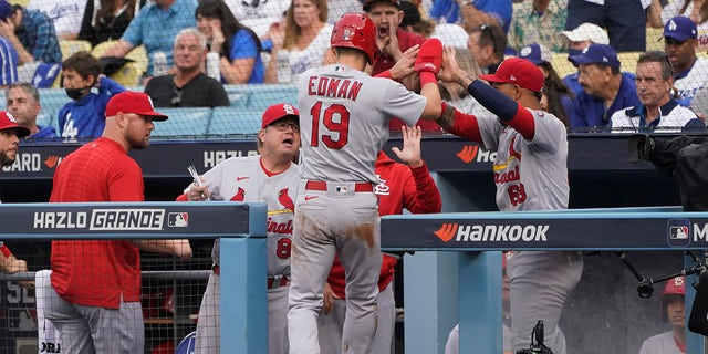 St. Louis Cardinals' Tommy Edman (19) celebrates in the dugout after scoring off of a wild pitch thrown by Los Angeles Dodgers starting pitcher Max Scherzer during the first inning of a National League Wild Card playoff baseball game Wednesday, Oct. 6, 2021, in Los Angeles.