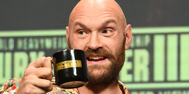 WBC heavyweight boxing champion Tyson Fury attends a news conference at the MGM Grand Garden Arena on Oct. 6, 2021, in Las Vegas.