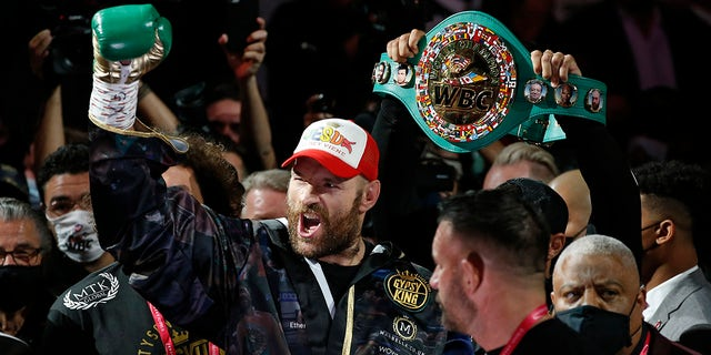 Tyson Fury, of England, arrives for a heavyweight championship boxing match against Deontay Wilder, Saturday, Oct. 9, 2021, in Las Vegas.