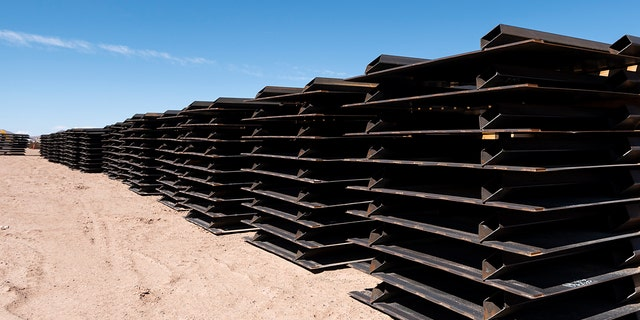 UNITED STATES - APRIL 12: Piles of unused border fence sit at one of the border wall construction staging areas on the Johnson Ranch near Columbus, N.M., on Monday, April 12, 2021. (Photo By Bill Clark/CQ-Roll Call, Inc via Getty Images)