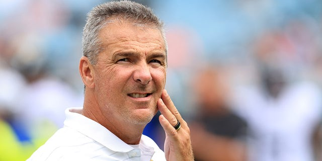 Head coach Urban Meyer of the Jacksonville Jaguars watches warmups during the game at TIAA Bank Field on Sept. 19, 2021, in Jacksonville, Florida.